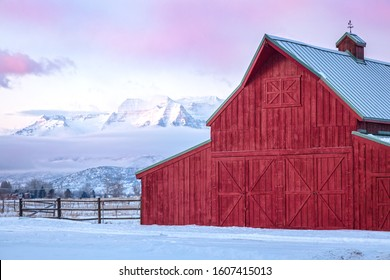 Red barn in the Wasatch Back, Utah, USA.