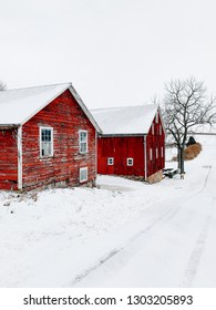 Red barns on a farm in the snow, York County, Pennsylvania