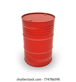 Red barrel on a white background (3d illustration)