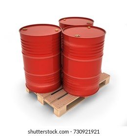 Red barrels on a pallet (3d illustration)