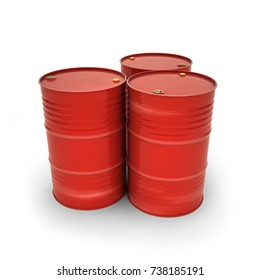Red barrels on a white background (3d illustration)