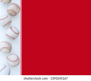 Red baseball background with balls on border.  Nobody in sports image with old vintage baseballs, copy space.