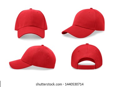 Red baseball cap in four different angles views. Mock up.