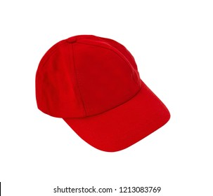 Red Baseball Hat isolated on white