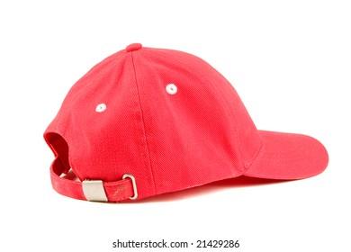 Red baseball hat on white ground