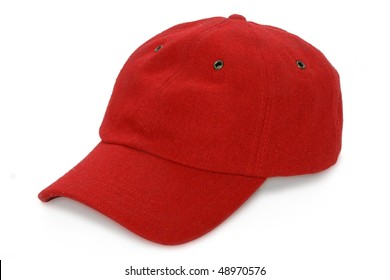 red baseball isolated hat