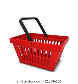 Red basket. 3d illustration isolated on white background