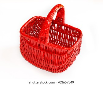 Red basket on a white background