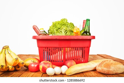 Red basket from the store and many products in it