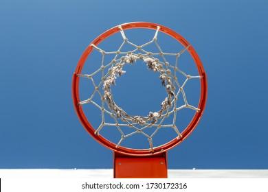 Red basketball hoop, bottom view