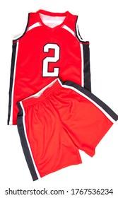 Red basketball uniform on white background
