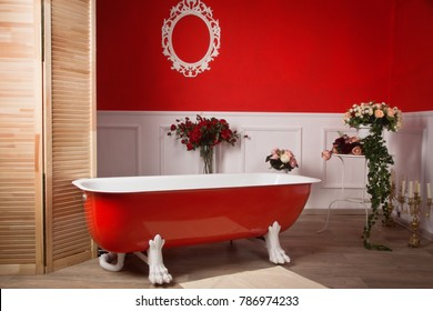 Red bathroom interior in a vintage style