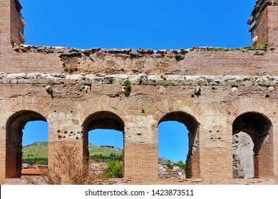 Red Bazilica of Antique City Bergama in Turkey