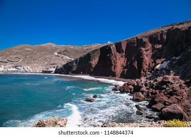 The red beach, famous and beautiful beach in Santorini. Located near the village and ancient site of Akrotiri.