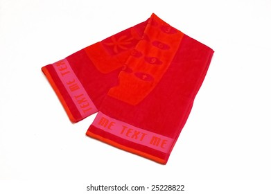 red beach towel isolated at white