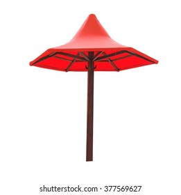 Red beach umbrella isolated on a white background