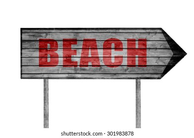 Red Beach wooden sign isolated on white
