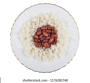 Red beans with boiled rice in plate isolated on white background. Top view