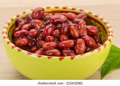 Red beans from can with leaf