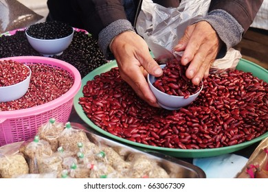Red beans and grains are sold by hill tribe villages in the north part of Thailand.