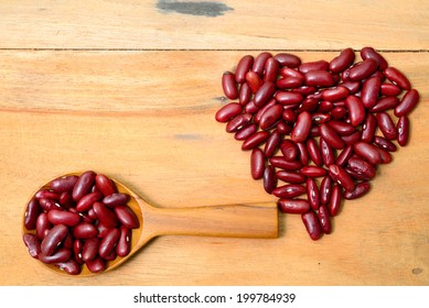 Red beans in heart shape