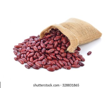 red beans in the sack isolated on white background