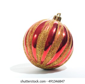 Red beautiful Christmas tree toy on a white background