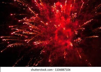 Red beautiful misty Fireworks