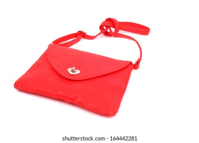 red beautiful woman hand bag