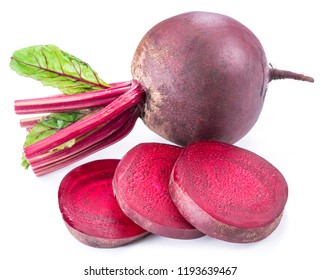 Red beet or beetroot with slices on white background.