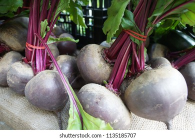 Red beetroot bulbs at a farmers market