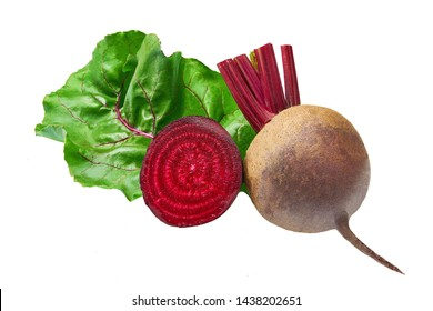 Red beetroot with herbage green leaves isolated on white background. Organic Beetroot.