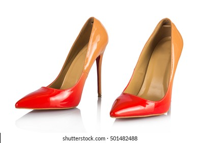Red beige gradient on shoes Louboutin. On white, isolated background.