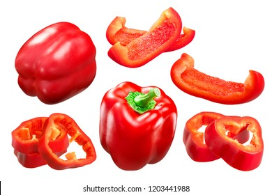 Red Bell Pepper (Capsicum annuum fruit), whole pods and slices, California Wonder variety