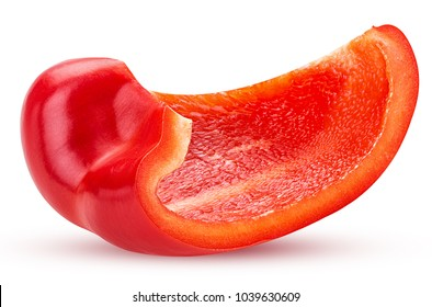 Red bell pepper slice isolated on white background Clipping Path