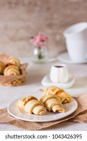 Red berry filling short crust pastry crescent rolls cookies. Jam rugelach (croissant), freshly baked sweet buns or bread rolls. Copy space for your text