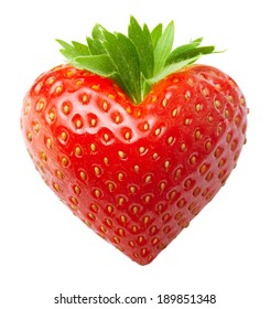 Red berry strawberry heart shape isolated on white background