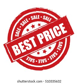 Red Best Price Sale Label, Sticker or Icon Isolated on White Background