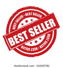 Red Best Seller Label, Sticker or Icon Isolated on White Background