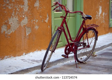 Red Bicycle, Nafplio,  Peloponnese, Greece