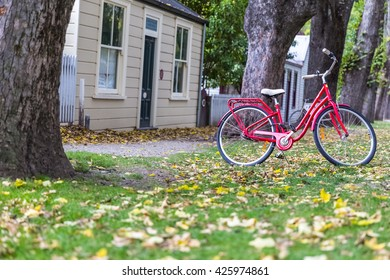 red bicycle on green grass with yellow leaves
