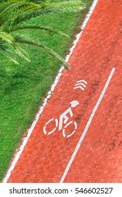 Red bicycle path surrounded by palm trees and a green lawn, top view