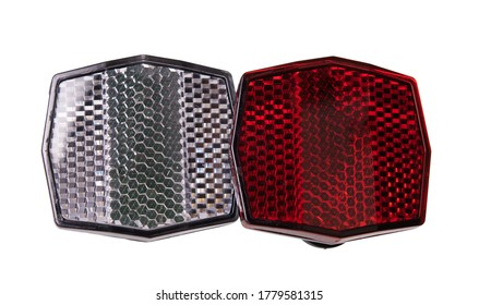 Red bicycle reflector for safety. Isolated on white background.