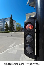 Red bicycle sign warning, traffic lights for bicyclists.