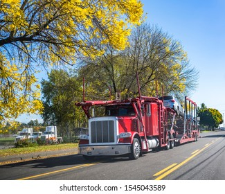 Red big rig car hauler professional industrial semi truck transporting car on two levels semi trailer running on autumn road in sunny day