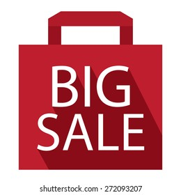 Red Big Sale Shopping Bag, Label, Sign or Icon Isolated on White Background