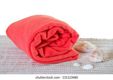 Red big spa towel or blanket with seashells