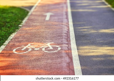 Red bike lane on sidewalk with painted white bicycle and arrow signs. Copy space