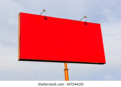 Red Billboard on sky background