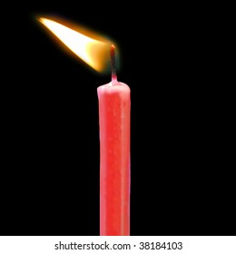 red birthday candle blowing in the wind against a black background